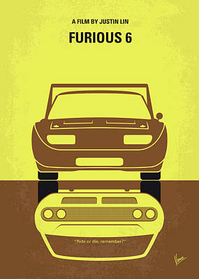 Digital Art - No207-6 My Furious 6 Minimal Movie Poster by Chungkong Art