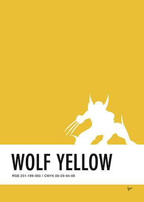 Power Digital Art - No21 My Minimal Color Code Poster Wolverine by Chungkong Art