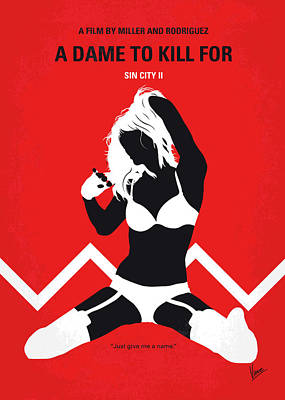 Jessica Alba Digital Art - No304-2 My Sin City A Dame To Kill For Minimal Movie Poster by Chungkong Art