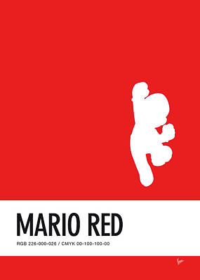 Level Digital Art - No33 My Minimal Color Code Poster Mario by Chungkong Art