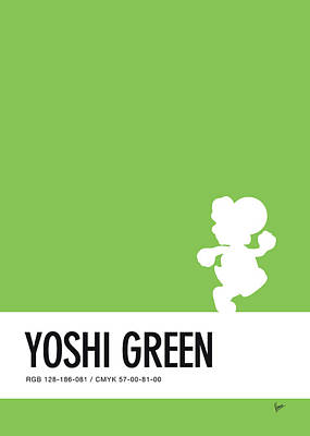 Super Mario Bros Art Digital Art - No36 My Minimal Color Code Poster Yoshi by Chungkong Art