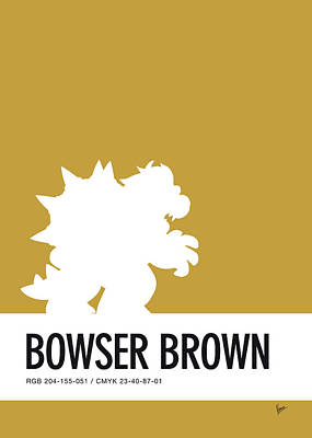 Super Mario Bros Art Digital Art - No38 My Minimal Color Code Poster Bowser by Chungkong Art