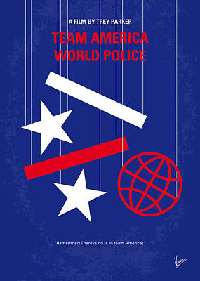 Police Art Digital Art - No475 My Team America Minimal Movie Poster by Chungkong Art