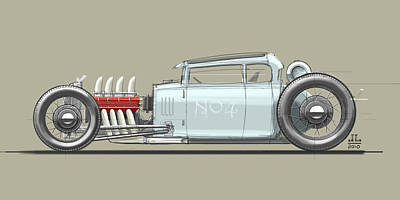 Old Car Drawing - No.4 by Jeremy Lacy