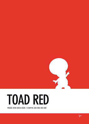 Super Mario Bros Art Digital Art - No41 My Minimal Color Code Poster Toad by Chungkong Art