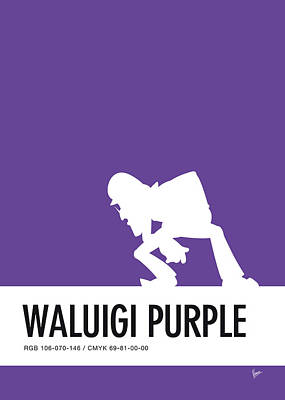 Super Mario Bros Art Digital Art - No42 My Minimal Color Code Poster Waluigi by Chungkong Art
