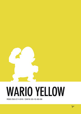 Peach Digital Art - No43 My Minimal Color Code Poster Wario by Chungkong Art