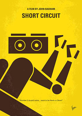 Robot Digital Art - No470 My Short Circuit Minimal Movie Poster by Chungkong Art