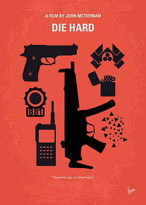 Los Angeles Digital Art - No453 My Die Hard Minimal Movie Poster by Chungkong Art