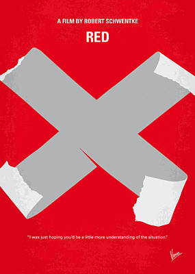 No495 My Red Minimal Movie Poster Art Print