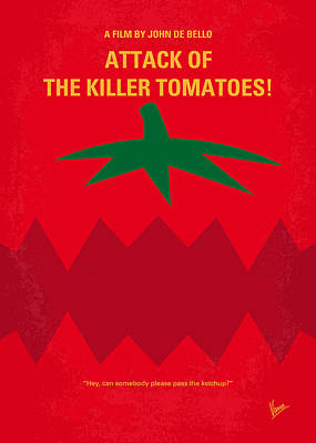Black Digital Art - No499 My Attack Of The Killer Tomatoes Minimal Movie Poster by Chungkong Art