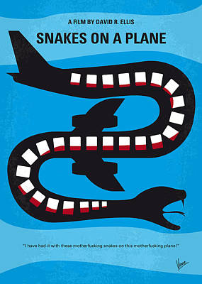 Flight Digital Art - No501 My Snakes On A Plane Minimal Movie Poster by Chungkong Art