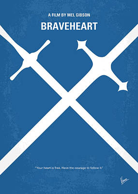 Scottish Digital Art - No507 My Braveheart Minimal Movie Poster by Chungkong Art