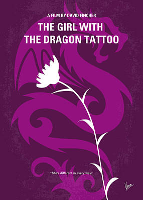 No528 My The Girl With The Dragon Tattoo Minimal Movie Poster Print by Chungkong Art