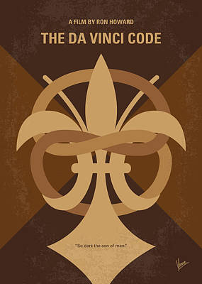 Da Vinci Digital Art - No548 My Da Vinci Code Minimal Movie Poster by Chungkong Art
