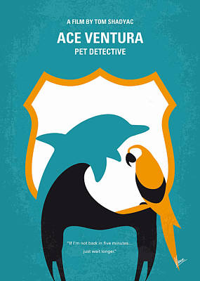 Dolphin Digital Art - No558 My Ace Ventura Minimal Movie Poster by Chungkong Art