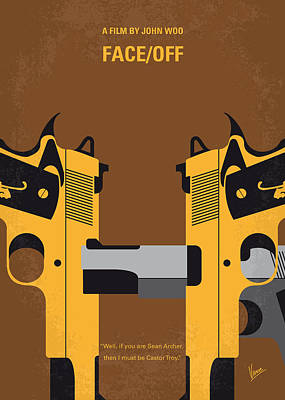 Sean Digital Art - No576 My Face Off Minimal Movie Poster by Chungkong Art