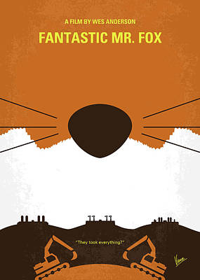Fantastic Digital Art - No673 My Fantastic Mr Fox Minimal Movie Poster by Chungkong Art