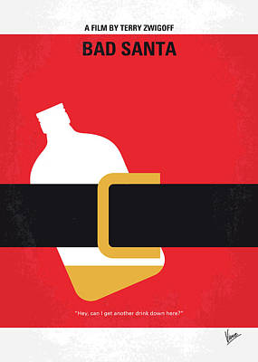 Phoenix Digital Art - No702 My Bad Santa Minimal Movie Poster by Chungkong Art