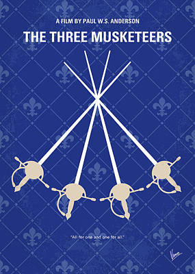 Cardinal Digital Art - No724 My The Three Musketeers Minimal Movie Poster by Chungkong Art