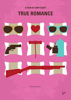 Tarantino Digital Art - No736 My True Romance Minimal Movie Poster by Chungkong Art