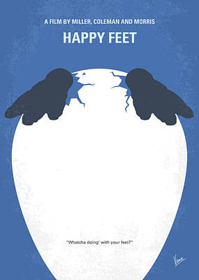 No744 My Happy Feet Minimal Movie Poster Art Print