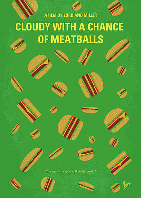 No778 My Cloudy With A Chance Of Meatballs Minimal Movie Poster Art Print