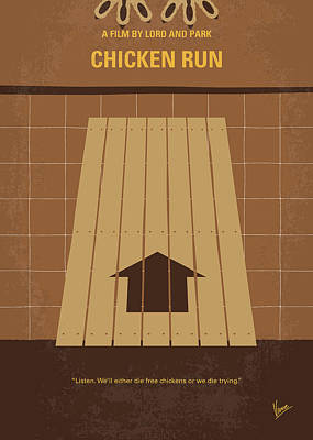 No789 My Chicken Run Minimal Movie Poster Art Print by Chungkong Art
