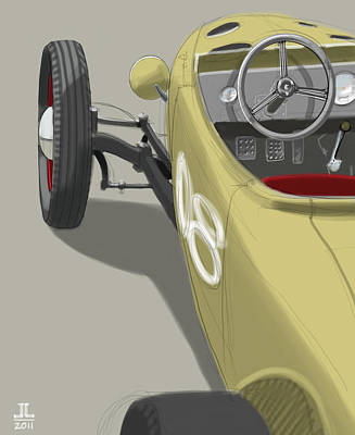 Old Car Drawing - No.8 by Jeremy Lacy
