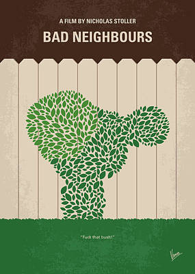 No840 My Bad Neighbours Minimal Movie Poster Art Print
