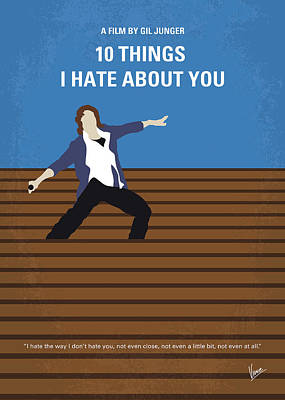 Heath Ledger Wall Art - Digital Art - No850 My 10 Things I Hate About You Minimal Movie Poster by Chungkong Art