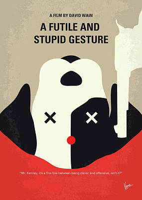 Harvard Wall Art - Digital Art - No893 My A Futile And Stupid Gesture Minimal Movie Poster by Chungkong Art