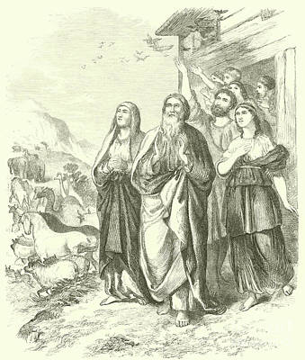 Bible Drawing - Noah And His Family Leaving The Ark, Genesis, Viii, 16 by English School