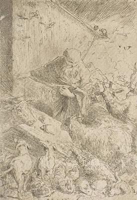 Relief - Noah Letting The Animals Into The Ark by Giovanni Benedetto Castiglione