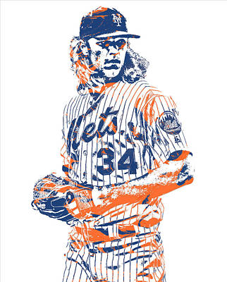 New York Mets Mixed Media - Noah Syndergaard New York Mets Pixel Art 1 by Joe Hamilton