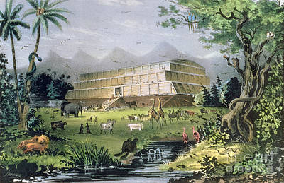 Floods Painting - Noahs Ark by Currier and Ives
