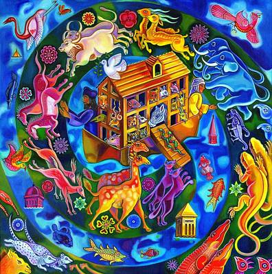 Bright Colours Painting - Noah's Ark by Jane Tattersfield