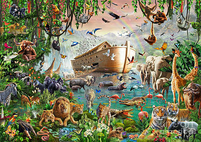 Flood Wall Art - Digital Art - Noah's Ark Variant 1 by MGL Meiklejohn Graphics Licensing