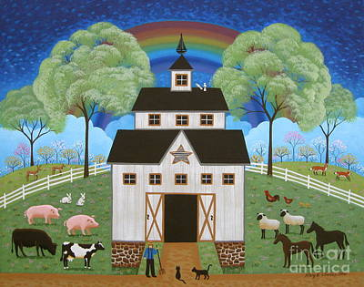 Folk Art Painting - Noah's Barn by Mary Charles
