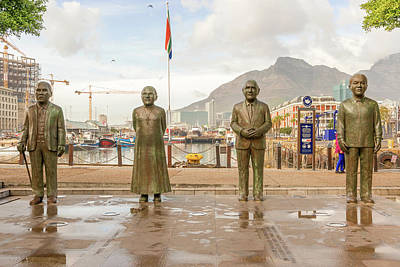 Photograph - Nobel Square At Waterfront In Cape Town With The Four Statues Of by Marek Poplawski