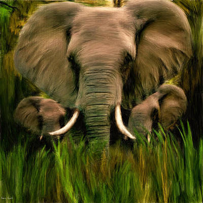 Elephant Photograph - Noble Ones by Lourry Legarde