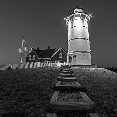 Photograph - Nobska Light Falmouth Ma Cape Cod Black And White by Toby McGuire