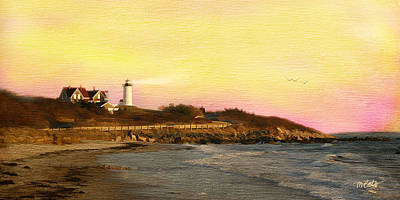 Dusk Mixed Media - Nobska Light by Michael Petrizzo