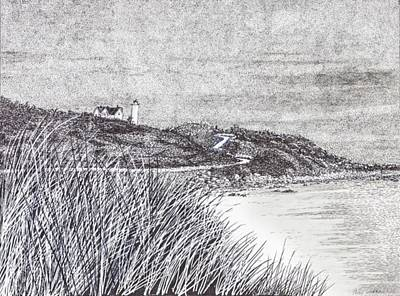 Drawing - Nobska Lighthouse by Betsy Carlson Cross