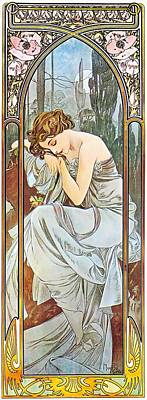Painting - Nocturnal Slumber by Alphonse Mucha