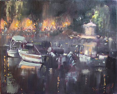 Yacht Painting - Nocturne At Dilesi Beach by Ylli Haruni
