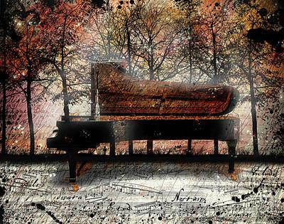 Grand Piano Wall Art - Digital Art - Nocturne  by Gary Bodnar