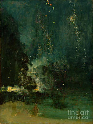 Nocturne In Black And Gold - The Falling Rocket Print by James Abbott McNeill Whistler