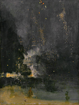 Whistler Painting - Nocturne In Black And Gold - The Falling Rocket by James Abbott McNeill Whistler