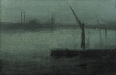 Whistler Painting - Nocturne In Blue And Silver - Battersea Reach by James Abbott McNeill Whistler